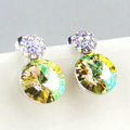 Luxury crystal diamond 925 sterling silver stud earrings 10mm - Green