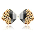 Luxury crystal diamond exaggerating rhombus gem stud earrings 18k gold plated - Black gold