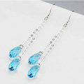 Luxury crystal diamond long raindrop 925 sterling silver dangle earrings - Blue