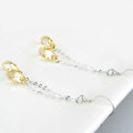 Luxury crystal diamond long raindrop 925 sterling silver dangle earrings - Champagne