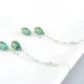 Luxury crystal diamond long raindrop 925 sterling silver dangle earrings - Green