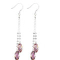 Luxury crystal diamond long raindrop 925 sterling silver dangle earrings - Purple
