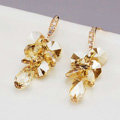 Luxury crystal diamond raindrop 925 sterling silver dangle earrings 4cm - Champagne