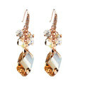 Luxury crystal diamond raindrop 925 sterling silver dangle earrings - Champagne