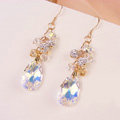 Luxury crystal diamond raindrop 925 sterling silver dangle earrings - White
