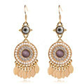 Luxury crystal exaggerating retro long tassel pearl dangle earrings 18k gold plated
