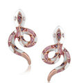 Luxury fashion crystal diamond exaggerating snake stud earrings 18k rose plated - Pink