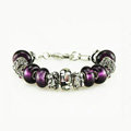Luxury fashion diamond flower glass beads women bangle bracelet 18K white gold GP - Purple 01