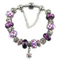 Luxury fashion diamond flower glass beads women bangle bracelet 18K white gold GP - Purple 07