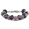Luxury fashion diamond flower glass beads women bangle bracelet 18K white gold GP - Purple 16