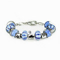 Luxury fashion diamond glass beads women bangle bracelet 18K white gold GP - Blue 02