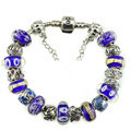 Luxury fashion diamond glass beads women bangle bracelet 18K white gold GP - Blue 05