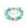 Luxury fashion diamond glass beads women bangle bracelet 18K white gold GP - Blue 06