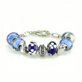Luxury fashion diamond glass beads women bangle bracelet 18K white gold GP - Blue 11