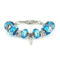 Luxury fashion diamond glass beads women bangle bracelet 18K white gold GP - Blue 19