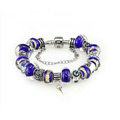 Luxury fashion diamond glass beads women bangle bracelet 18K white gold GP - Blue 24