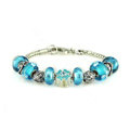 Luxury fashion diamond glass beads women bangle bracelet 18K white gold GP - Blue 25