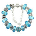 Luxury fashion diamond glass beads women bangle bracelet 18K white gold GP - Blue 28