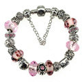 Luxury fashion diamond glass beads women bangle bracelet 18K white gold plated - Pink