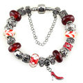 Luxury fashion diamond glass beads women bangle bracelet 18K white gold plated - Red 08