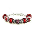 Luxury fashion diamond glass beads women bangle bracelet 18K white gold plated - Red 29