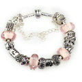 Luxury fashion diamond glass beads women bangle bracelet 18K white gold plated - light pink