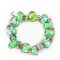 Luxury fashion diamond glass beads women bangle bracelet silver plated - Green