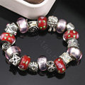 Luxury fashion diamond glass beads women bangle bracelet silver plated - Red