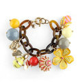 Luxury fashion small bee flowers multi-pendant women gems bangle bracelet - Yellow