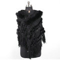 Winter Women's Genuine Knitting Rabbit Fur Shawls Warm Triangle Tassel Wraps Poncho - Black