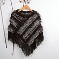 Winter Women's Genuine Knitting Rabbit Fur Shawls Warm Triangle Tassel Wraps Poncho - Coffee