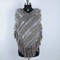Winter Women's Genuine Knitting Rabbit Fur Shawls Warm Triangle Tassel Wraps Poncho - Grey