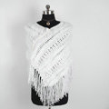 Winter Women's Genuine Knitting Rabbit Fur Shawls Warm Triangle Tassel Wraps Poncho - White