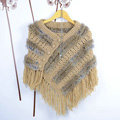 Winter Women's Genuine Knitting Rabbit Fur Shawls Warm Triangle Tassel Wraps Poncho - Yellow