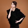 Women's Genuine Knitted Twisted Rabbit Fur Poncho Winter Warm Wraps Hooded Shawls - Black