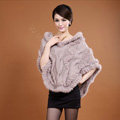 Women's Genuine Knitted Twisted Rabbit Fur Poncho Winter Warm Wraps Hooded Shawls - Khaki