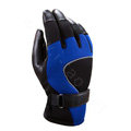 Allfond Man winter warm outdoor sport windproof ski motorcycle riding buckle leather Gloves - Black blue