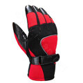Allfond Man winter warm outdoor sport windproof ski motorcycle riding buckle leather Gloves - Black red