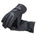 Allfond Man winter warm outdoor sport windproof ski motorcycle riding buckle leather Gloves - Black