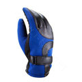 Allfond Man winter warm outdoor sport windproof ski motorcycle riding buckle leather Gloves - Blue