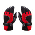 Allfond Man winter warm outdoor sport windproof ski motorcycle riding buckle leather Gloves - Red black