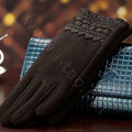Allfond fashion women touch screen gloves stretch cotton lace winter warm business gloves - Coffee