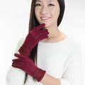 Allfond fashion women touch screen gloves stretch cotton lace winter warm business gloves - Dark red