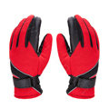 Allfond men winter thermal outdoor sport cold-proof ski motorcycle riding velvet leather Gloves - Red