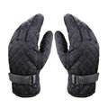 Allfond men winter warm outdoor sport windproof ski motorcycle riding buckle Suede Gloves - Black
