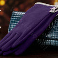 Allfond women touch screen gloves stretch cotton bow-knot winter warm solid color gloves - Purple