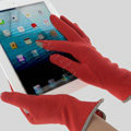 Allfond women touch screen gloves stretch cotton bow-knot winter warm solid color gloves - Red