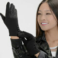 Allfond women touch screen gloves stretch cotton button winter warm solid color gloves - Black