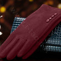 Allfond women touch screen gloves stretch cotton button winter warm solid color gloves - Dark red
