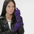 Allfond women touch screen gloves stretch cotton button winter warm solid color gloves - Purple